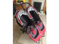 City Mini Double Pram/Stroller, Cost Toes Foot Muffs And Rain Cover
