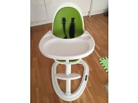 New Ickle Bubba Orb high chair Green and White, with infant pillow insert