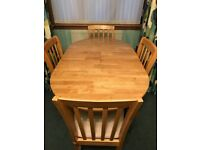 Oak table and 4 matching chairs