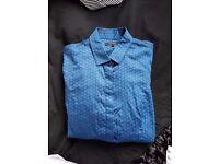 Womens UK 10-12 TM Lewin Shirt - Blue Patterned