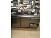 Refrigerated stainless steel prep counter