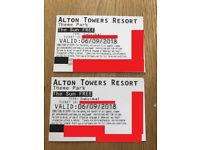 2 x Alton Towers theme park tickets. Thursday 6th September. 6th Sept. 06/09/2018