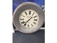 Large Silver and antique white Cafe de la Tour metal clock