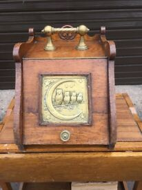 Antique Oak and Brass Coal scuttle