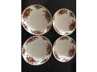Royal Albert Old Country Roses set of 4 cereal or dessert bowls, used but good condition