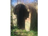 Free garden slabs and metal shell of shed