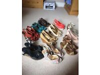 11 pairs of heels/wedges all size 6-7