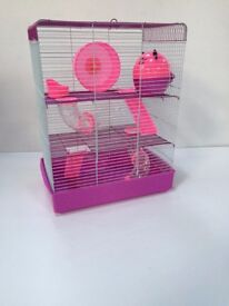 Penthouse Large 3 story Hamster Cage colors pink and purple,