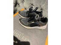 Genuine woman's Alexander McQueen black & silver metallic trainers
