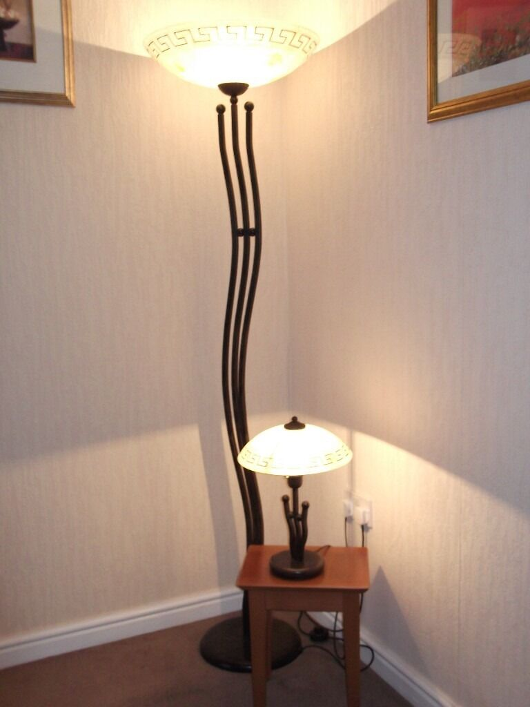 Matching floor and table lamps - Decorative Solid Metal Floor Lamp Uplighter Matching Table Lamp