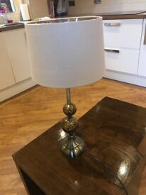 Brass Gold Lamp with natural shade