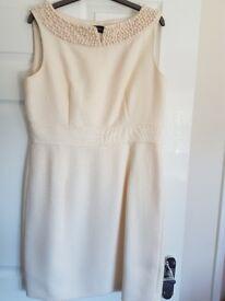 Principles cream dress with beading round neckline (size 14)