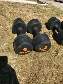 9KG Rubber Dumbbell Set