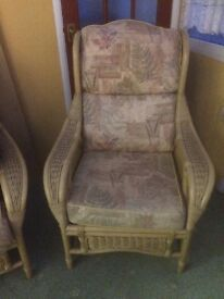 Cane conservatory sofa, 2 chairs and table