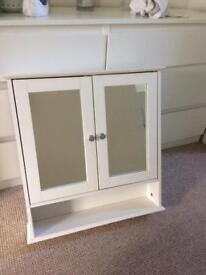 White wooden mirrored wall mounted bathroom cabine