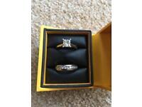 One carat diamond engagement ring and wedding ring