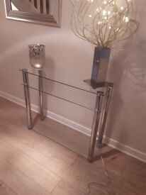 2 x glass console tables