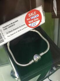 Large Pandora bracelet with heart clasp