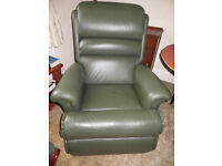Sherbourne Green Leather Electric Rise and Recline Chair