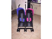 Double pushchairs blue+pink for sale been used once