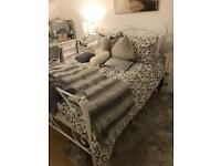 White crystal double bed frame - excellent condition