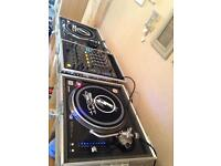 Technics 1210 Mk 5G, Mk 5 and Pioneer DJM 800 with flight cases. Mint