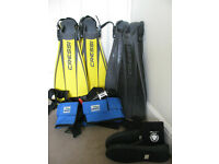 Full set of diving equipment required for diving