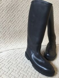 "Authentic ""Mr B"" (Black Leather; Made in Amsterdam) Tall Mens' Boots (UK Size 10&1/2)"