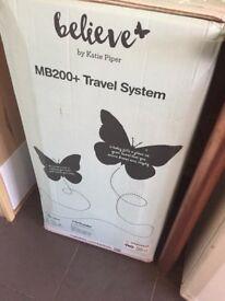billie faires black,white & rose gold travel system