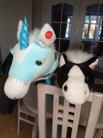Pair of sit on hobby horse and unicorn
