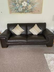 Dark Brown Real Leather Sofa 🛋 & 2 Arm Chairs