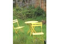 Sunshine yellow garden folding table and 2 chairs.