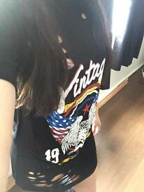 Vintage printed laser cut out t-shirt dress black