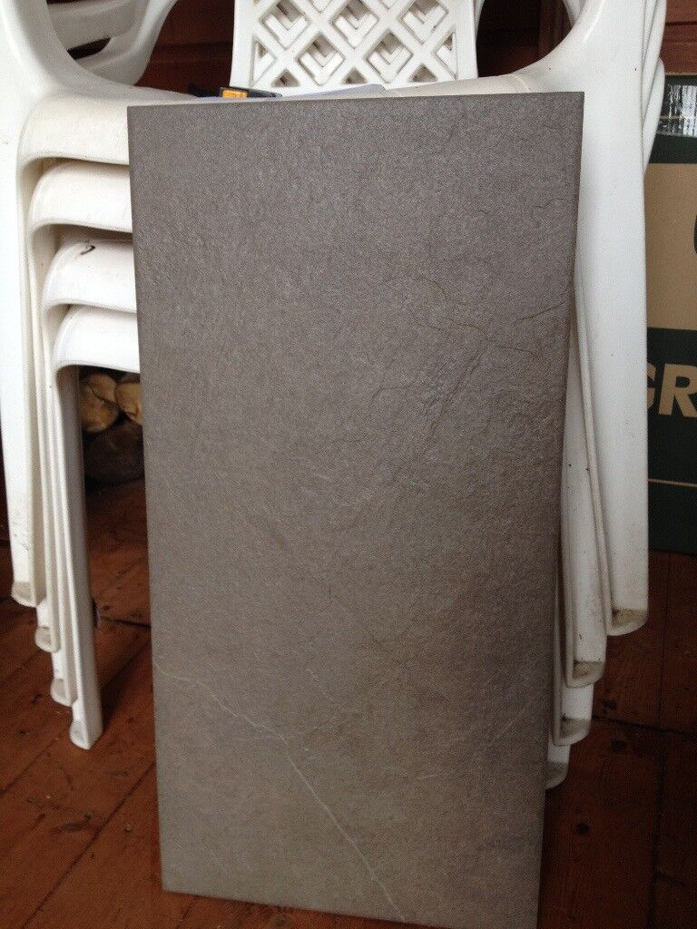 Porcelain Tiles x 6 'Grespania' in greyish brown.