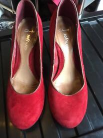Clarks red suede shoes 6.5