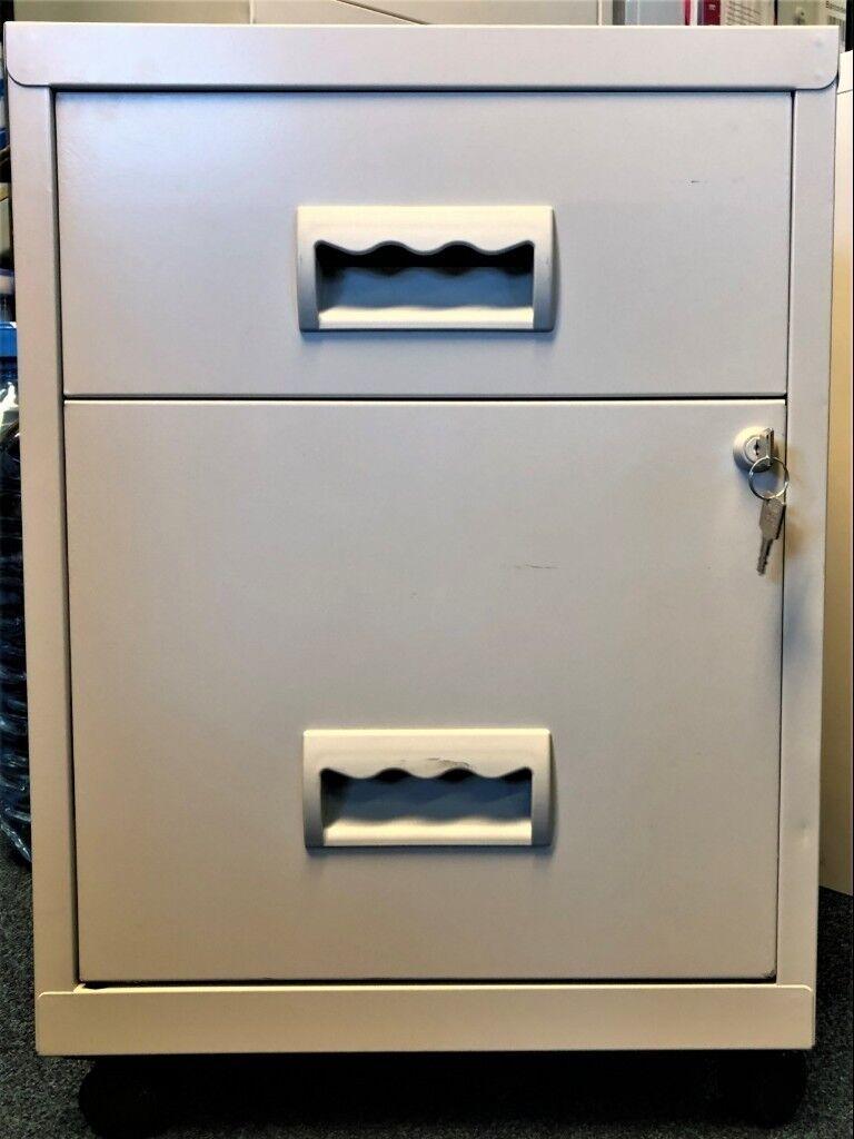 2 Drawer Grey Metal Filing Cabinet On Wheels H56cm X W40cm X