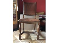 Antique oak and leather studded chairs