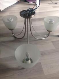 3 bulb light fitting - with bulbs