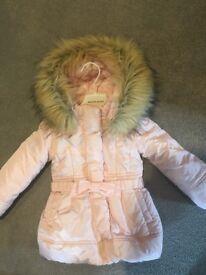 Monnalisa Baby Girls Pink Padded Coat with Fur Trim Hood 24 months