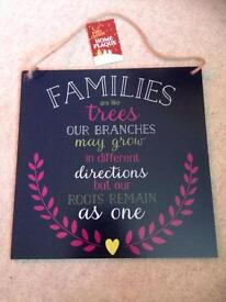 Hanging family sign