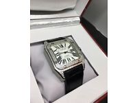 Blue strap Cartier Santos 100 automatic diamond ice AP Audemars Piguet hublot Rolex