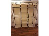 Canvas Wardrobe Cupboard Clothes Hanging Rail Storage Shelves Beige