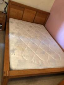 Solid oak bed frame Double (mattress free if wanted)