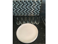 4 Porcelain Dinner Plates + 6 Glasses (Perfect Condition)