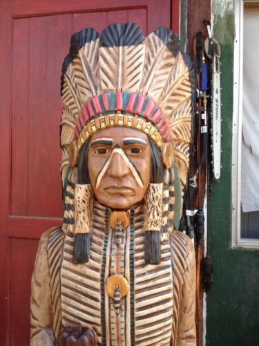 John Gallagher Carved Wooden Cigar Store Indian 6 ft.Tall Statue Fine Details !