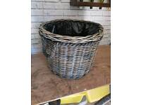 Extra large new azul rattan basket with plasic lining high quality basket
