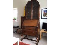 Lovely old oak bureau with display case NOW REDUCED!