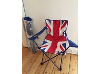 Pair Union Jack camping chairs brand new