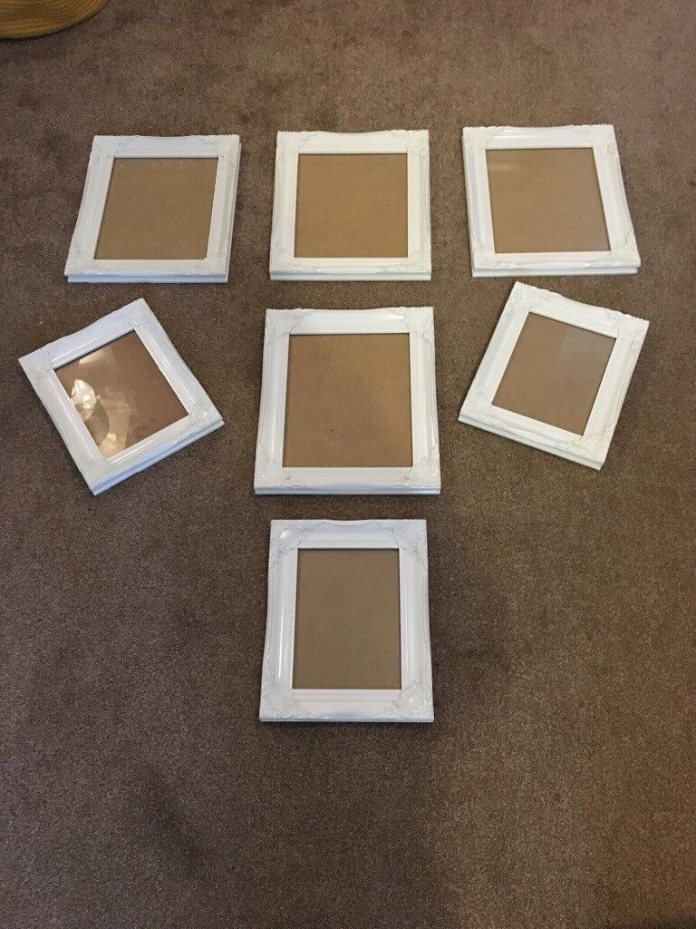 White Shabby Chic Photo Picture Frames For Wall Hanging Bundle In