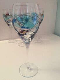 Set of six new large blue wine glasses